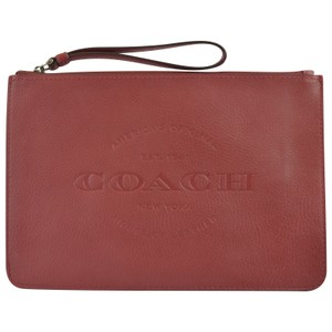 Coach Leather Wristlet in Brick