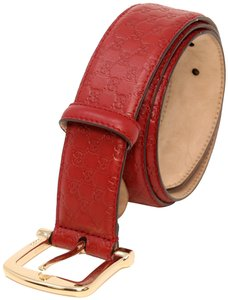 Gucci Calfskin Leather GG Microguccissima Gold Buckle Men's Belt Size US 32