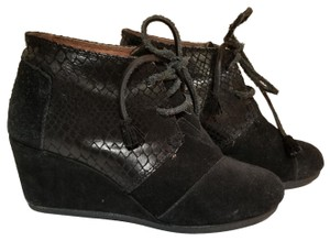 TOMS Suede Snake Wedge Black Boots