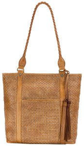 Patricia Nash Designs Perforated Large Zip Tassle Tote in Brown