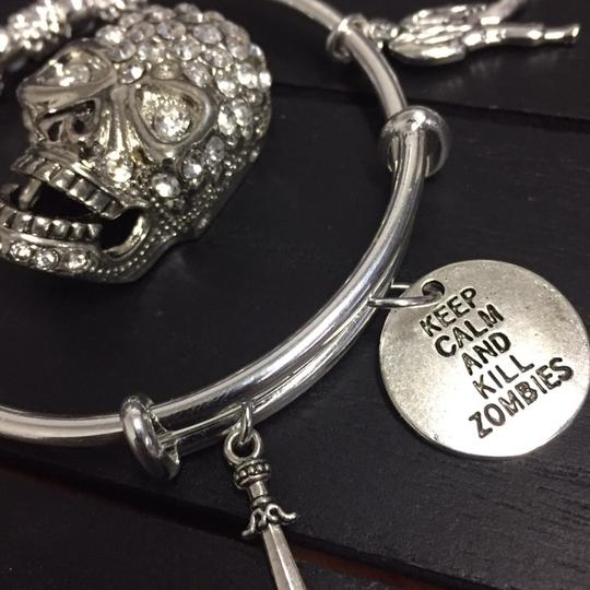 Handmade Walking Dead Zombie 925 Sterling Silver Plated Expandable Charm Bracelet Image 1