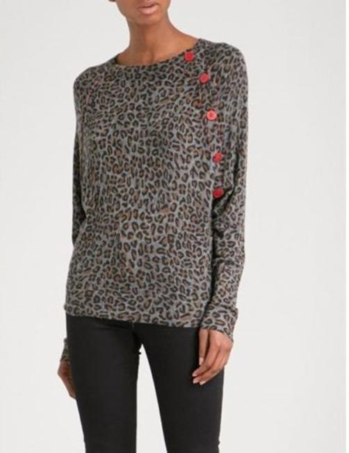 Zadig & Voltaire Distressed Leopard Knit Print Sweater Image 1