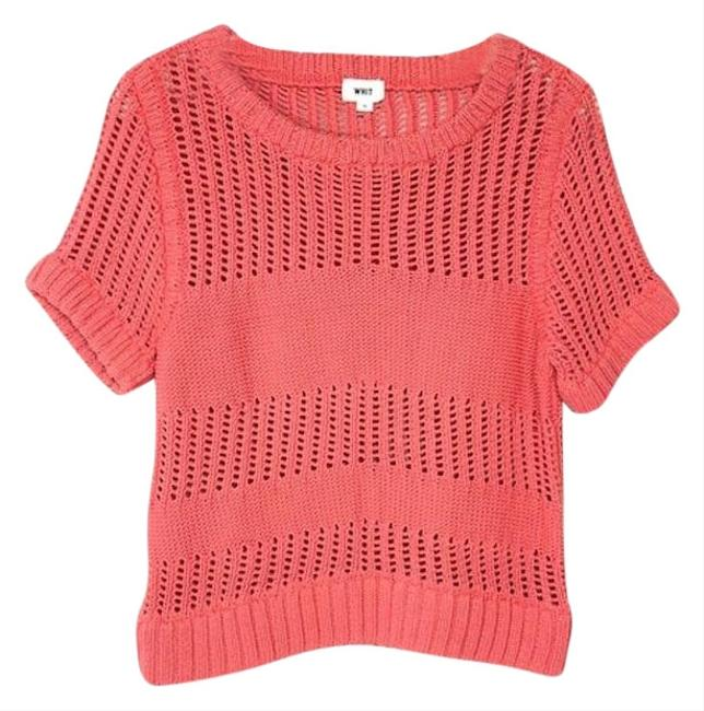 Preload https://img-static.tradesy.com/item/24396580/anthropologie-whit-knit-pattern-short-sleeve-orange-sweater-0-1-650-650.jpg