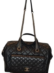Chanel Classic Cc Caviar Leather Satchel in Black
