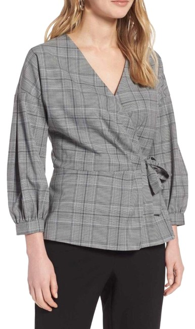 Preload https://img-static.tradesy.com/item/24396605/halogen-gray-plaid-wrap-front-blouse-size-6-s-0-1-650-650.jpg