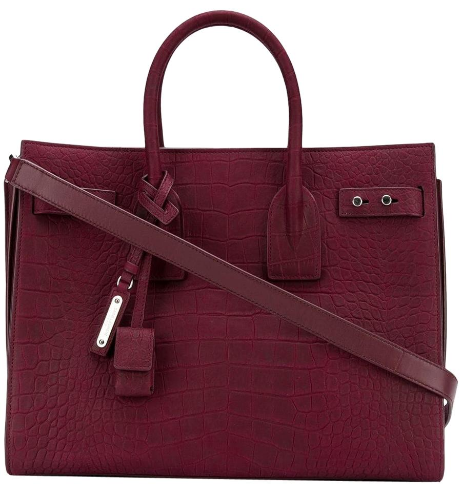c3560d5921 Saint Laurent Sac de Jour Small Soft Croc Embossed Red Rouge Legend Nubuck  Leather Tote