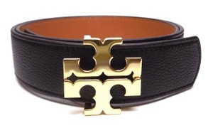 "Tory Burch TORY BURCH 1.5"" BLACK TIGERS EYE BROWN LEATHER REVERSIBLE LOGO BELT- L"