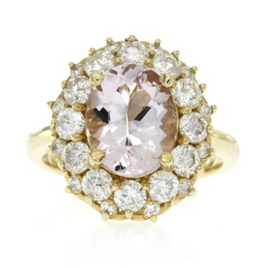 None 3.20 CT Morganite & 1.86 CT Diamonds in 14K Yellow Gold Cocktail Ring