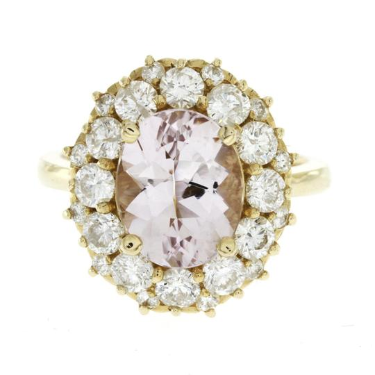 None 3.20 CT Morganite & 1.86 CT Diamonds in 14K Yellow Gold Cocktail Ring Image 2