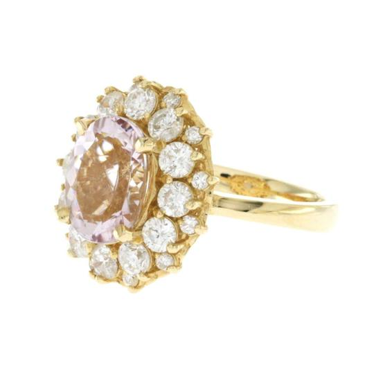 None 3.20 CT Morganite & 1.86 CT Diamonds in 14K Yellow Gold Cocktail Ring Image 3