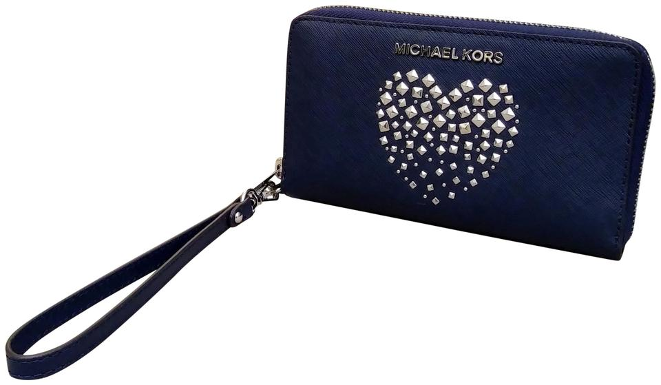 9d77990132f1 Michael Kors Heart Studded Phone Navy Saffiano Leather Wristlet ...