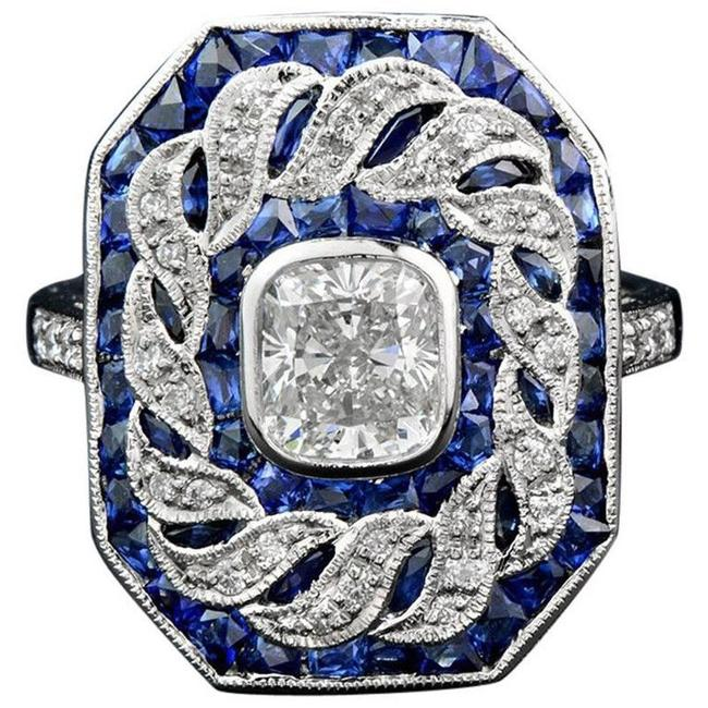Item - Blue White 14k Gold Plated Sapphire Topaz Stone Women Party Size 7 8 9 Ring