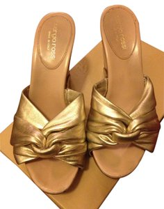 Sergio Rossi gold and camel Wedges
