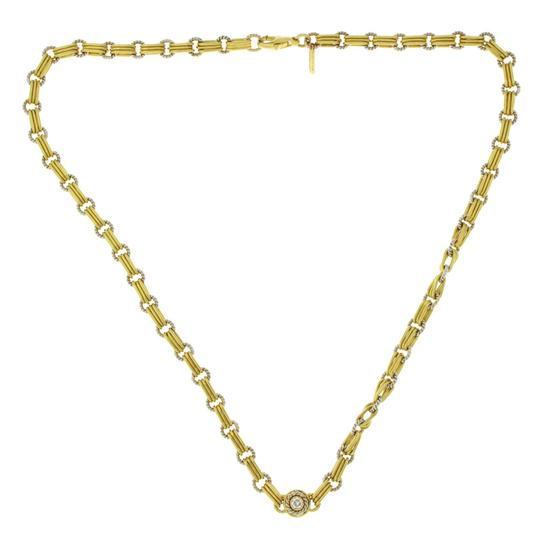 Preload https://img-static.tradesy.com/item/24396947/18k-white-and-yellow-gold-33-grams-diamond-link-chain-necklace-0-0-540-540.jpg