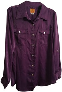 Ruby Rd. Button Down Shirt Purple