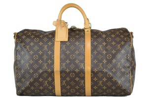Louis Vuitton Keepall Bandouliere Monogram Tote in Brown