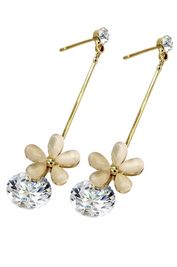 Ocean Fashion Gold Pendant flower crystal earrings Image 1