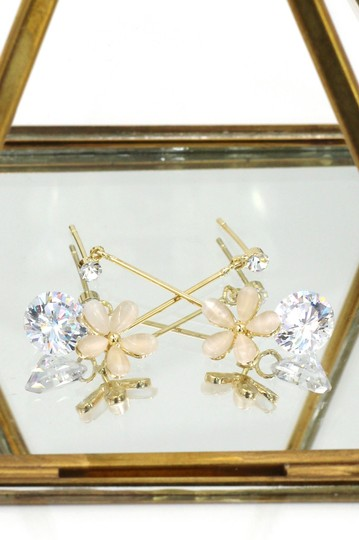 Ocean Fashion Gold Pendant flower crystal earrings Image 2