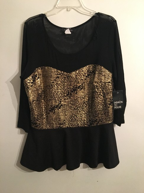 Fashion to Figure Top Black and Gold Image 2