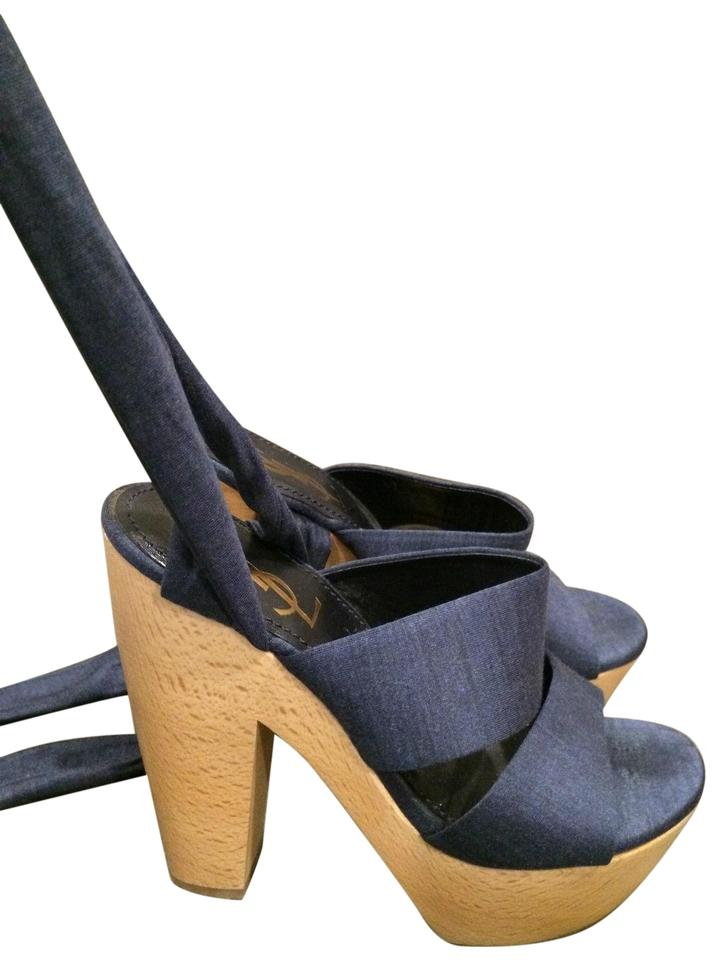 df6e201b678 Saint Laurent Blue Ysl Yves Wood Ankle Wrap Tie Sandals Heels ...