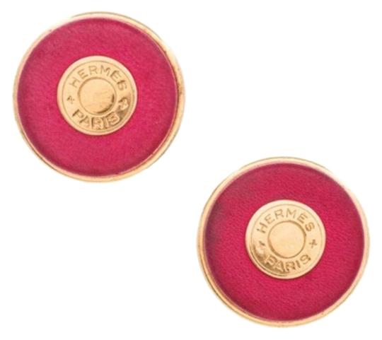 Preload https://img-static.tradesy.com/item/24397333/hermes-pink-and-gold-tone-iconic-h-earrings-0-3-540-540.jpg