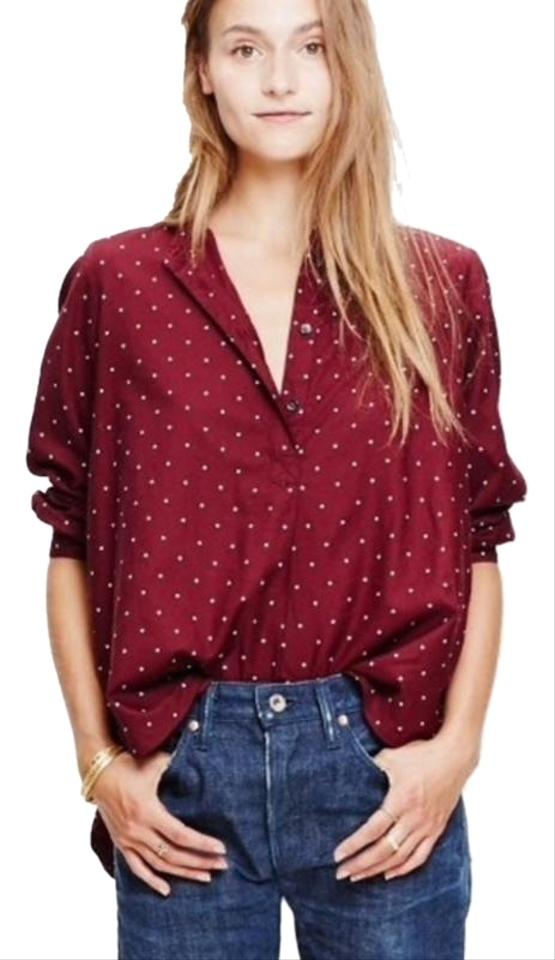 1fe2394d6ddabc Madewell Red Shirred Popover Shirt In Microdot Small Blouse Size 6 ...