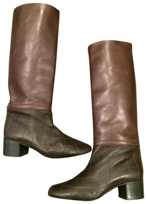 Chanel Brown 13b Quilted Leather Knee High Tall Boots/Booties Size EU 40 (Approx. US 10) Regular (M, B) Chanel Brown 13b Quilted Leather Knee High Tall Boots/Booties Size EU 40 (Approx. US 10) Regular (M, B) Image 1