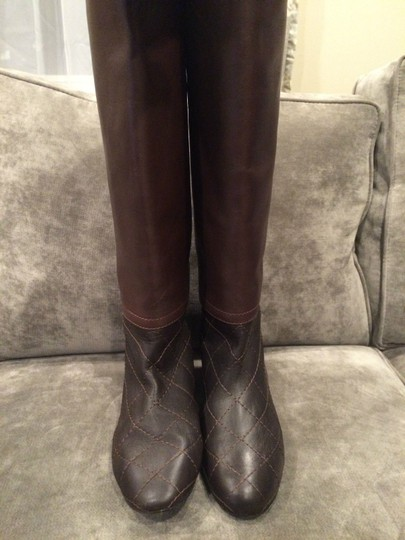 Chanel Cc Quilted Brown Boots Image 11