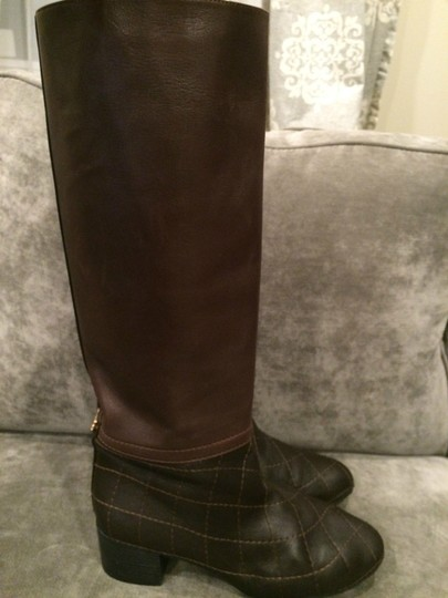 Chanel Cc Quilted Brown Boots Image 3