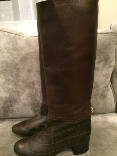 Chanel Cc Quilted Brown Boots Image 5