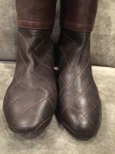 Chanel Cc Quilted Brown Boots Image 7