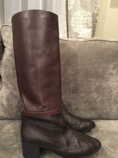 Chanel Cc Quilted Brown Boots Image 9