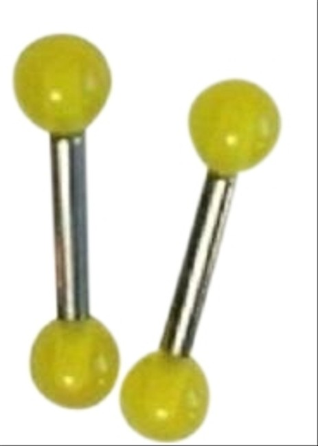 Item - Silver and Yellow Set Of 2 Straight Labrets Body Piercing