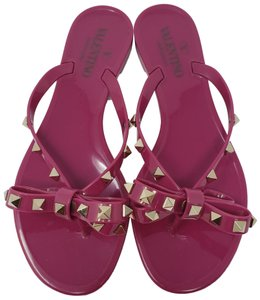 Valentino Rockstud Gold Hardware Jelly Bow Studded Purple Sandals