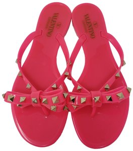 Valentino Rockstud Gold Hardware Jelly Studded Glitter Pink Sandals