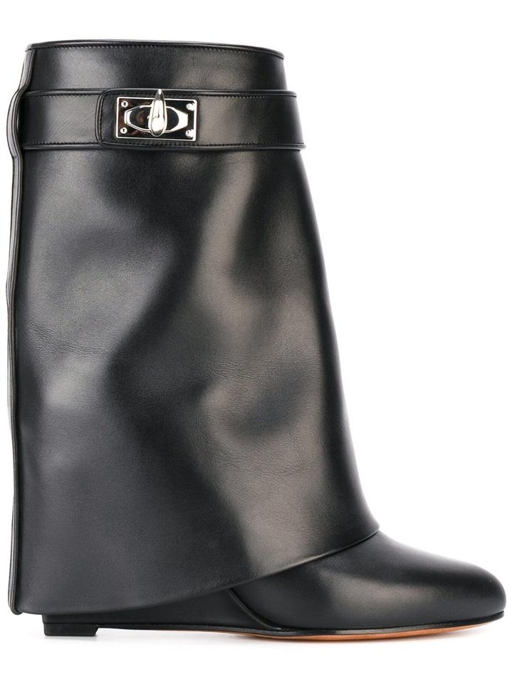 GIVENCHY Shark Lock Fold Over Wedge Boots in Black in Black