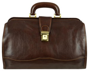 Time Resistance Leather Doctor Leather Dr Satchel in DARK BROWN