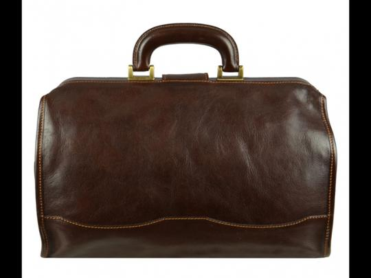 Time Resistance Leather Doctor Leather Dr Satchel in DARK BROWN Image 10