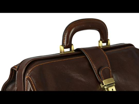 Time Resistance Leather Doctor Leather Dr Satchel in DARK BROWN Image 3