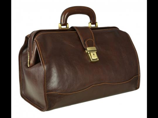 Time Resistance Leather Doctor Leather Dr Satchel in DARK BROWN Image 6