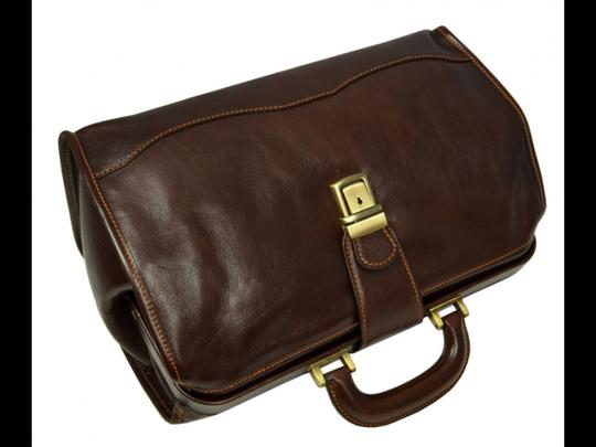 Time Resistance Leather Doctor Leather Dr Satchel in DARK BROWN Image 7
