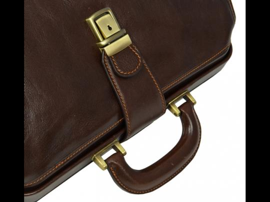 Time Resistance Leather Doctor Leather Dr Satchel in DARK BROWN Image 8