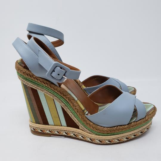 Valentino Striped Gold Hardware Rockstud Studded Ankle Strap Multicolor Wedges Image 3