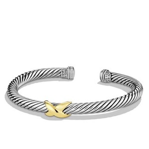 David Yurman Cable Classics 4mm 14k gold X station cuff bracelet