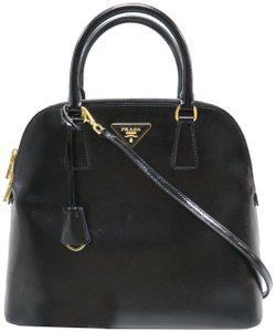 Prada Saffiano Vernice Pyramid Satchel in Black