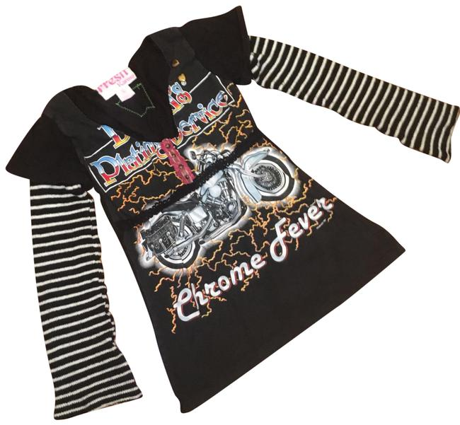 Item - Black Fresh with Sweater Sleeves Tee Shirt Size 4 (S)