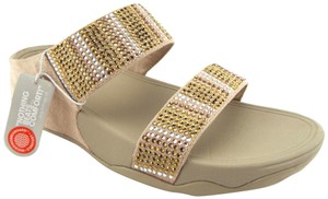 FitFlop Strap Flare Strobe Grey Beige Suede Leather Gold Sandals
