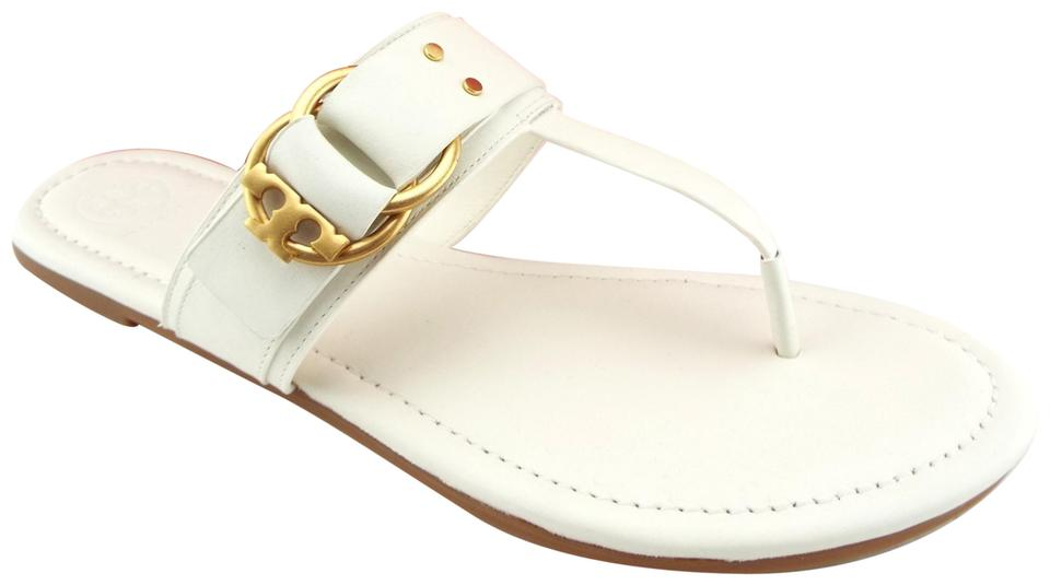 0f5f92f4b1898 Tory Burch Perfect Ivory Leather Logo Buckle Flat Thong Sandals Size ...