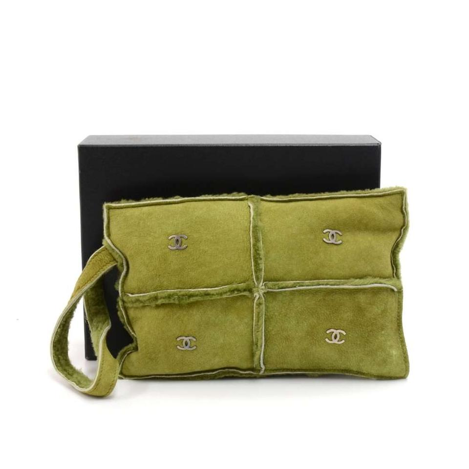 2476dfdc3f4d Chanel Clutch Mouton Quilted Green Sheepskin Leather Wristlet - Tradesy