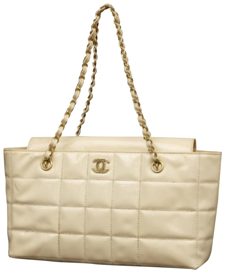 f29d493c1cf8 Chanel Quilted Chocolate Bar Chain 231369 Ivory Patent Leather Tote ...